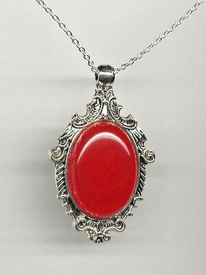 ❤Genuine RED JADE Antique Silver Pendant Necklace Art Deco *STERLING 925 CHAIN