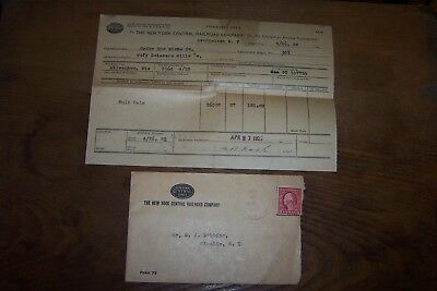 The New York Central Railroad Co. 1922 Envelope And Freight Bill