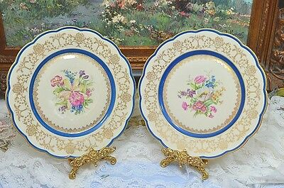 Royal Bayreuth Bavaria Blue Gold Floral Plate Set of 2 10""