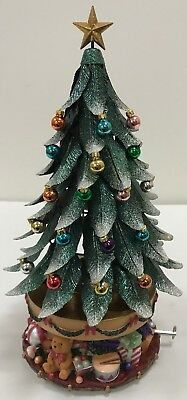 Partylite Glowing Rotating Musical Metal Christmas Tree & 18 Ornaments P7920