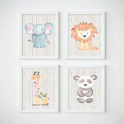 Jungle Animals Nursery Wall Decor Prints, Monkey, Polar, Girafe, Elephant