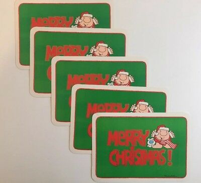 Vintage Ziggy Christmas Post Cards Tom Wilson Lot Of Five Green With Santa Hat
