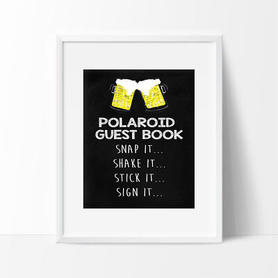 Polaroid Guest Book Sign, Birthday Sign, 21st Birthday, Male, Beer