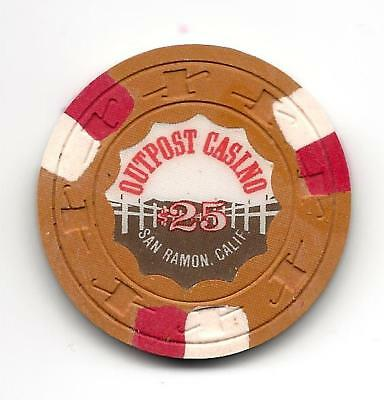 OUTPOST SAN RAMON Casino Poker CHIP  $25  CHIP  PAULSON CHIP