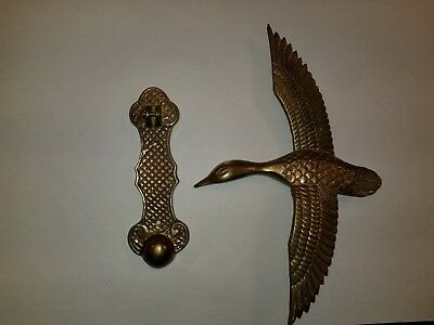 Vintage Solid Brass Door Knocker Mallard In Flight [Not a Knock Off]