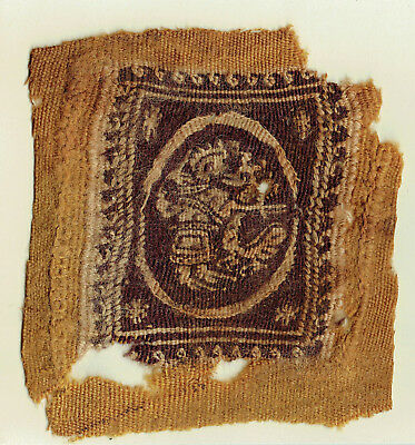 Ancient Coptic Textile Fragment -Birds and Beast, Christian Arts, 4-8th AD