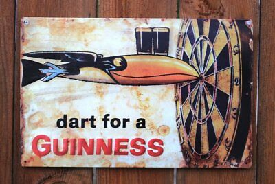 Guinness Beer Dart Dublin Ireland Bar Pub Retro Wall Decor Metal Tin Sign New
