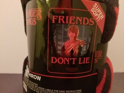 Stranger Things Plush Fleece Throw Blanket Friends Don't Lie - Netflix - NWT