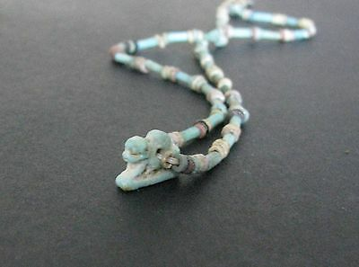 NILE  Ancient Egyptian Lion Amulet Mummy Bead Necklace ca 1000 BC