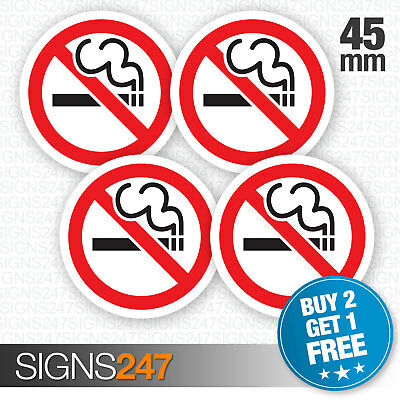 4 x No Smoking Stickers 45mm waterproof vinyl signs window car taxi van shop