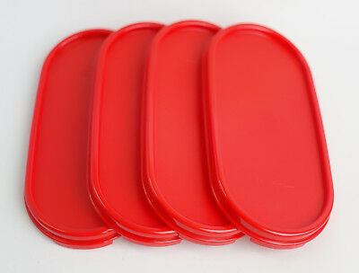 4 New Tupperware Modular Mates Oval RED Lid Replacement Seal Cover MM #1616
