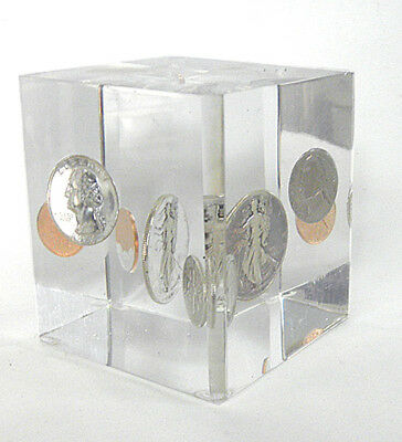 Vintage Lucite Acrylic US Silver Coins Paperweight 1945 Liberty Half Dollar