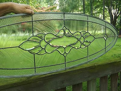 Vintage Beveled Leaded Stained Glass Window Clear Salvage Transom Sidelight Oval