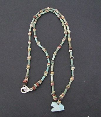 NILE  Ancient Egyptian Lion Amulet Mummy Bead Necklace ca 600 BC