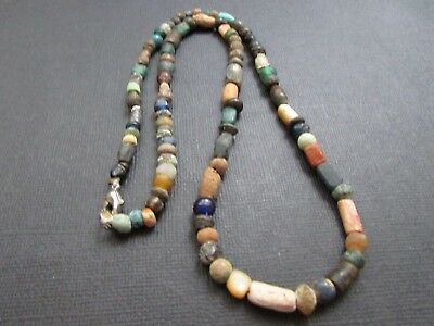 NILE  Ancient Egyptian Glass Amulet Roman Period Mummy Bead Necklace ca 100 BC