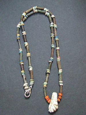 NILE  Ancient Egyptian Hand  Amulet Mummy Bead Necklace ca 600 BC