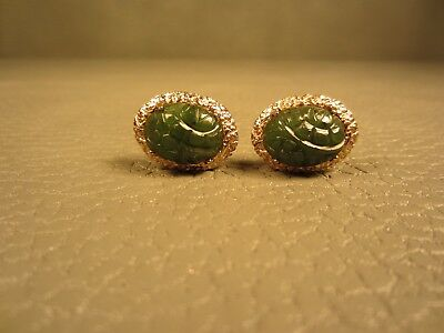 Vintage Mid Century Modern Carved Jade Yellow Gold Plated Cuff Links