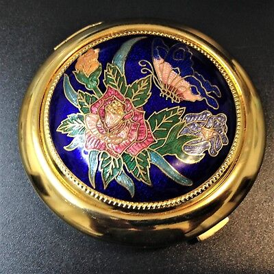 Cloisonne Enameled Compact Purse Mirror - Butterflies & Roses - Near New