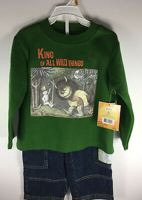 Where The Wild Things Are 2 Piece Set Sweatshirt Jeans 3T Boy's Max's Forest NWT