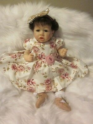 Ooak REBORN Life Like NEWBORN BABY DOLL SASKIA by Bonnie Brown w/COA& Full Limbs