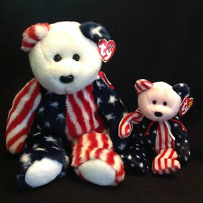TY BEANIE BABY & BUDDY SPANGLE red White Blue Independence Day Bear NWT July 4th