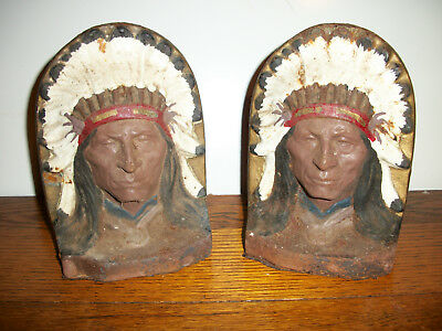 Antique Native American Bookends CAST IRON INDIAN HEADS Vintage