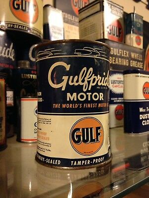 Gulf Oil Can Gulfpride Gulflube Gulflex Supreme Gas Station Metal Gulflube FULL!