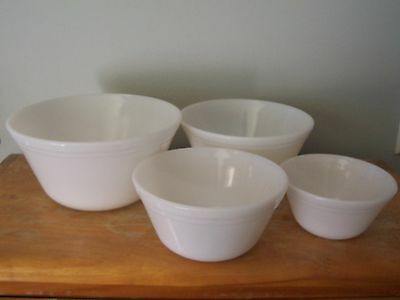 Complete Vintage Set Of 4 White Milk Glass Federal Mixing Bowls - Very Good