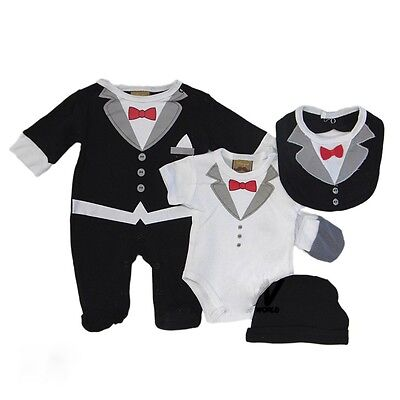 LITTLE GENTS Baby Boy 5 Piece Tuxedo Gift Layette Outfit Set BNWT 3 Sizes 0-6m
