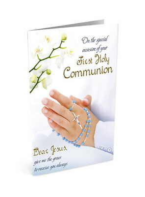 First holy communion greeting card for a son 3d metal crucifix and first holy communion greeting card praying hands with blue rosary m4hsunfo