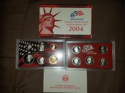 2004-S Silver Proof Set United States Mint Original Government Packaging Box COA