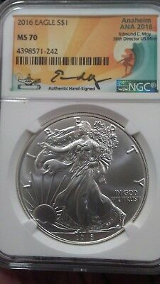 "2016 Silver Eagle Ngc Ms70 Edmund Moy Signed Aniheim Ana Low Pop Of Only ""500"""