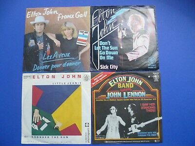 "Elton John 7"" Vinyl Les Aveux Don`t Let The Sun Little Jeanie I Saw Her Standing"