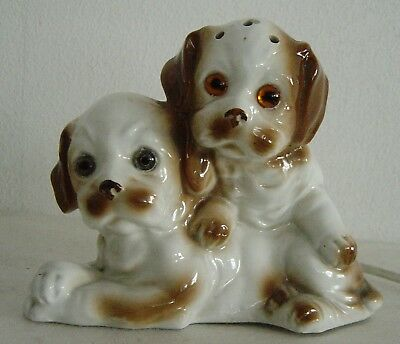 lovely old porcelain perfume lamp Cocker Spaniel dog with Puppy