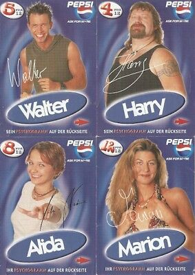 4 Big Brother Pepsi Cards Top selten-Rarität-Walter-Alida-Harry-Marion Druck AK