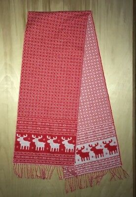 CASHMERE SCARF Christmas Reindeer Red White Nordic 100% Cashmere MADE IN GERMANY