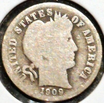 Barber Dime - 1909 - Historic Silver! - $1 Unlimited Shipping