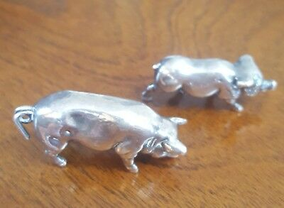 Sterling Silver Pigs minature figurines. Set of 2