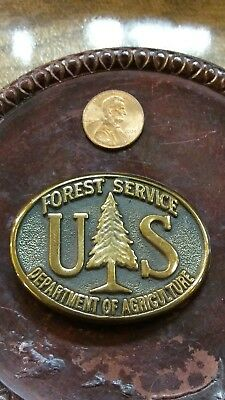 LADIES US Forest Service solid bronze belt buckle MINT 1989 very rare size