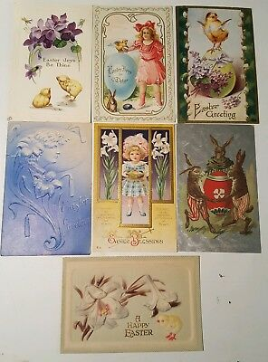 Antique Lot of 7 Assorted Early 1900's Easter Postcards