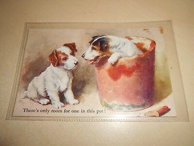 Vintage Dog Themed Art Postcard - There's Only Room For One In This Pot -  Vgc