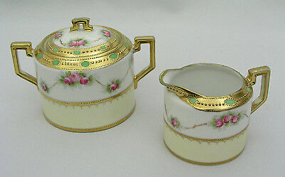 Antique Nippon Morimura Hand Painted - Sugar Bowl W/ Lid & Creamer - Gold Beaded