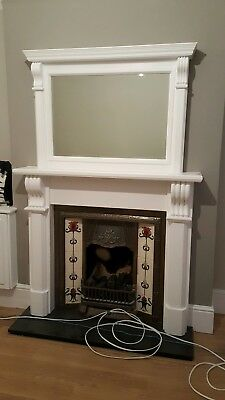 Cast Iron Fireplace surround fire wood tiled antique Victorian style old and mir
