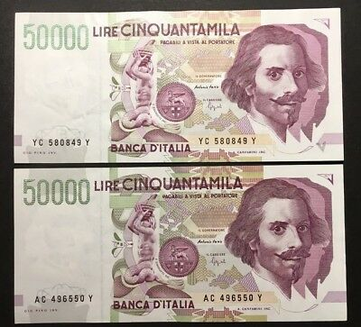 Lot Italy 50,000 (50000) Lire, 1992, Crisp VF+ and XF, TWO Banknotes No Reserve