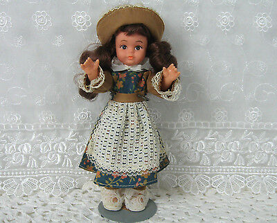 """Uneeda Doll 10"""" with Stand Original Outfit Shoes & Hat Vintage Made in Hong Kong"""