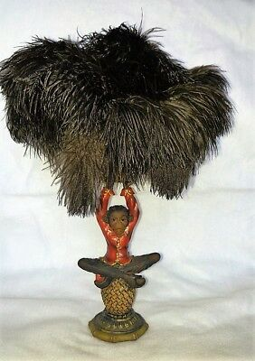 """Chimpanzee Monkey Ape resin statue feather duster 15"""" high with ostrich feathers"""