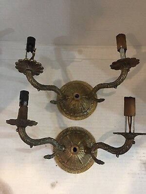 Vintage Ornate Cast Metal Brass Double Candle Light Wall Sconce Spain
