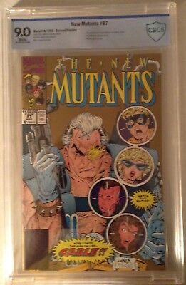 New Mutants #87 CBCS 9.0 W Pages 1st app Cable 2nd Print Gold Cover Rare