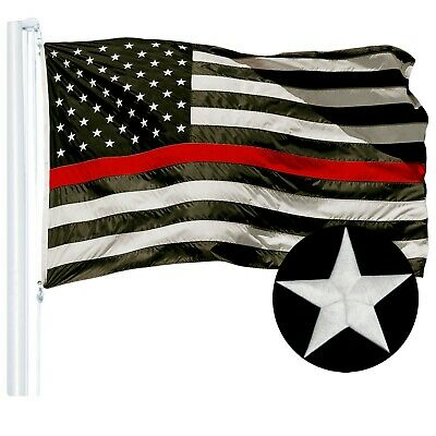 G128 – Thin Red Line US Police Flag | 2x3ft | Embroidered Stars Sewn Stripes