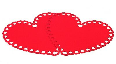 2x Valentine's Day Heart Shape Table Placemats Red Felt